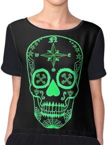 Logistic Specialist - Day of the Dead Neon Green Chiffon Top
