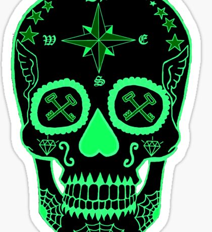 Navy LS - Day of the Dead Neon Green Sticker