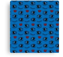 Eyes and lips  silhouette seamless pattern. Stylish trend design  Canvas Print