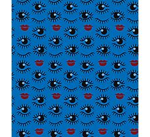 Eyes and lips  silhouette seamless pattern. Stylish trend design  Photographic Print