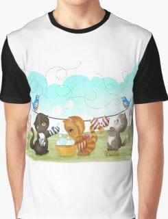 Three Kittens Washing Mittens Graphic T-Shirt