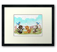 Three Kittens Washing Mittens Framed Print