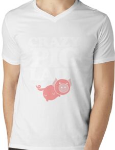 Crazy pig lady  Mens V-Neck T-Shirt