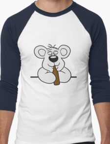 table wall shield drunk thirsty cola drink alcohol party bottle beer drinking sweet little cute polar teddy bear funny Men's Baseball ¾ T-Shirt