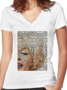 Marilyn Monroe - Sigh - Stone Rock'd Art By Sharon Cummings Women's Fitted V-Neck T-Shirt