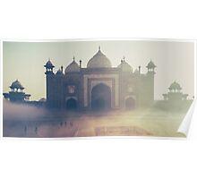 Beautiful Taj Mahal in a foggy day Poster