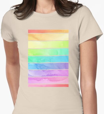 Summer Sorbet Rainbow Stripes Womens Fitted T-Shirt