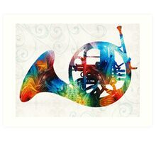 Colorful French Horn - Color Fusion By Sharon Cummings Art Print