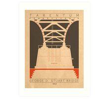 George D. Stuart Bridge - 1952 (Orange) Art Print