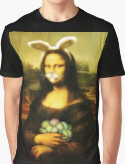 Mona Lisa Easter Bunny with Whiskers Graphic T-Shirt
