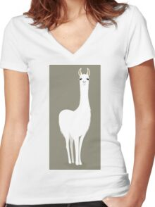 STANDING LLAMA #8 Women's Fitted V-Neck T-Shirt