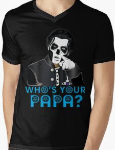 WHO'S YOUR PAPA? - papa 3 - blue letters Mens V-Neck T-Shirt