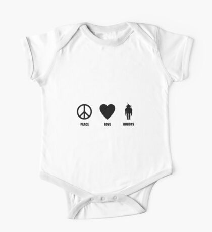 Peace Love Robots One Piece - Short Sleeve