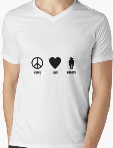 Peace Love Robots Mens V-Neck T-Shirt