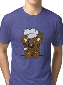 Eat text cook cooking delicious restaurant chef, kitchen grill master chef hat apron pancake teddy bear funny sweet Tri-blend T-Shirt
