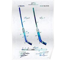 Blue Hockey Stick Art Patent - Sharon Cummings Poster