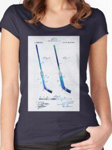 Blue Hockey Stick Art Patent - Sharon Cummings Women's Fitted Scoop T-Shirt