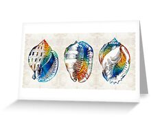 Colorful Seashell Art - Beach Trio - By Sharon Cummings Greeting Card
