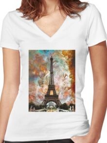 The Eiffel Tower - Paris France Art By Sharon Cummings Women's Fitted V-Neck T-Shirt