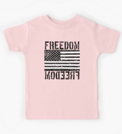 Freedom Black and White US Flag  Kids Tee