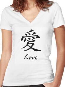Love in Chinese Writing Women's Fitted V-Neck T-Shirt