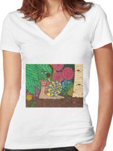 Snail's Eye View Women's Fitted V-Neck T-Shirt