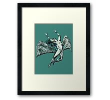 ICARUS THROWS THE HORNS - lightning bolts Framed Print