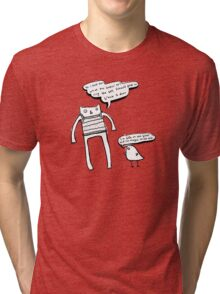 McHammer Cat & the Rapty Bird (with white fill) Tri-blend T-Shirt