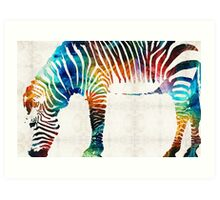 Colorful Zebra Art by Sharon Cummings Art Print