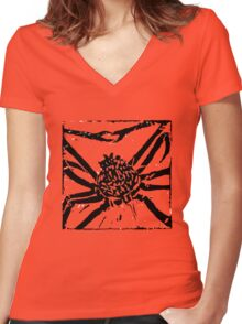Giant Spider Crab - Museum Linocut Collection Women's Fitted V-Neck T-Shirt