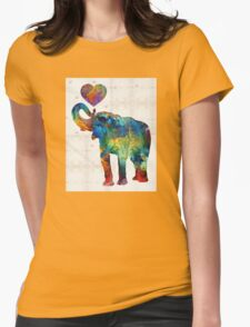 Colorful Elephant Art - Elovephant - By Sharon Cummings Womens Fitted T-Shirt