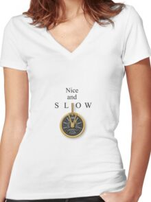 Nice and Slow Women's Fitted V-Neck T-Shirt