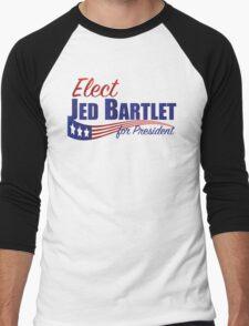 Elect Jed Bartlet for President with Flag Underline Men's Baseball ¾ T-Shirt
