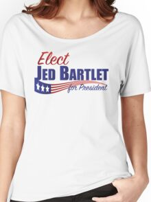 Elect Jed Bartlet for President with Flag Underline Women's Relaxed Fit T-Shirt