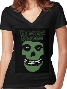 Electric Mayhem Parody Logo Women's Fitted V-Neck T-Shirt