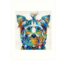 Colorful Yorkie Dog Art - Yorkshire Terrier - By Sharon Cummings Art Print
