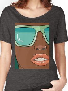 Sensual woman face with mint glasses Women's Relaxed Fit T-Shirt