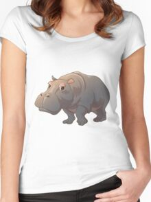 Cute cartoon hippo Women's Fitted Scoop T-Shirt