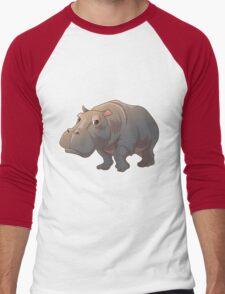 Cute cartoon hippo Men's Baseball ¾ T-Shirt