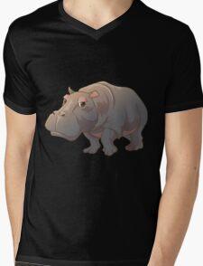 Cute cartoon hippo Mens V-Neck T-Shirt