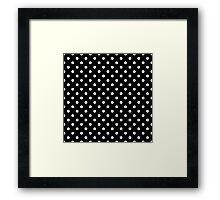 White Poka Dots with Black Background  Framed Print