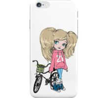 Girl with a bicycle iPhone Case/Skin
