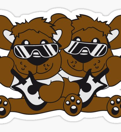 team crew buddies duo electric guitar electro guitar rocker heavy metal hard rock bass band music party concert Teddy Bear Sticker