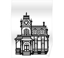 Victorian House - black & white Poster