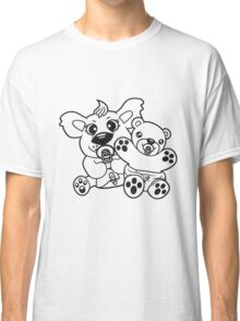 team crew brothers sibling 2 bears twins baby child cute sweet diapers pacifier small young comic cartoon kawaii Classic T-Shirt
