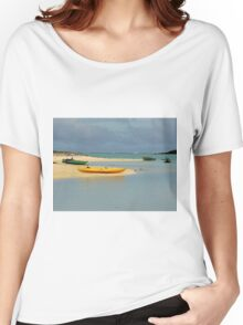 Yellow Kayak in Blue Lagoon Women's Relaxed Fit T-Shirt
