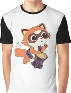 Baby Raccoon Drummer Graphic T-Shirt