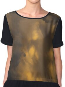 Storm Clouds Sunset - Ominous Grays and Yellows - a Vertical View Chiffon Top