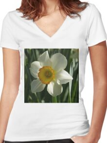 Poet's Daffodil Square Women's Fitted V-Neck T-Shirt