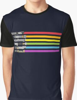 Lightsaber Rainbow Graphic T-Shirt